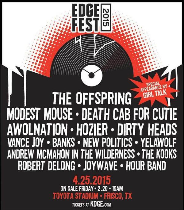 Bands announced for Edgefest 2015