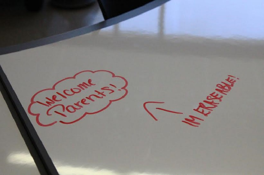 Some of the tables are erasable for easy collaboration or if an idea strikes.