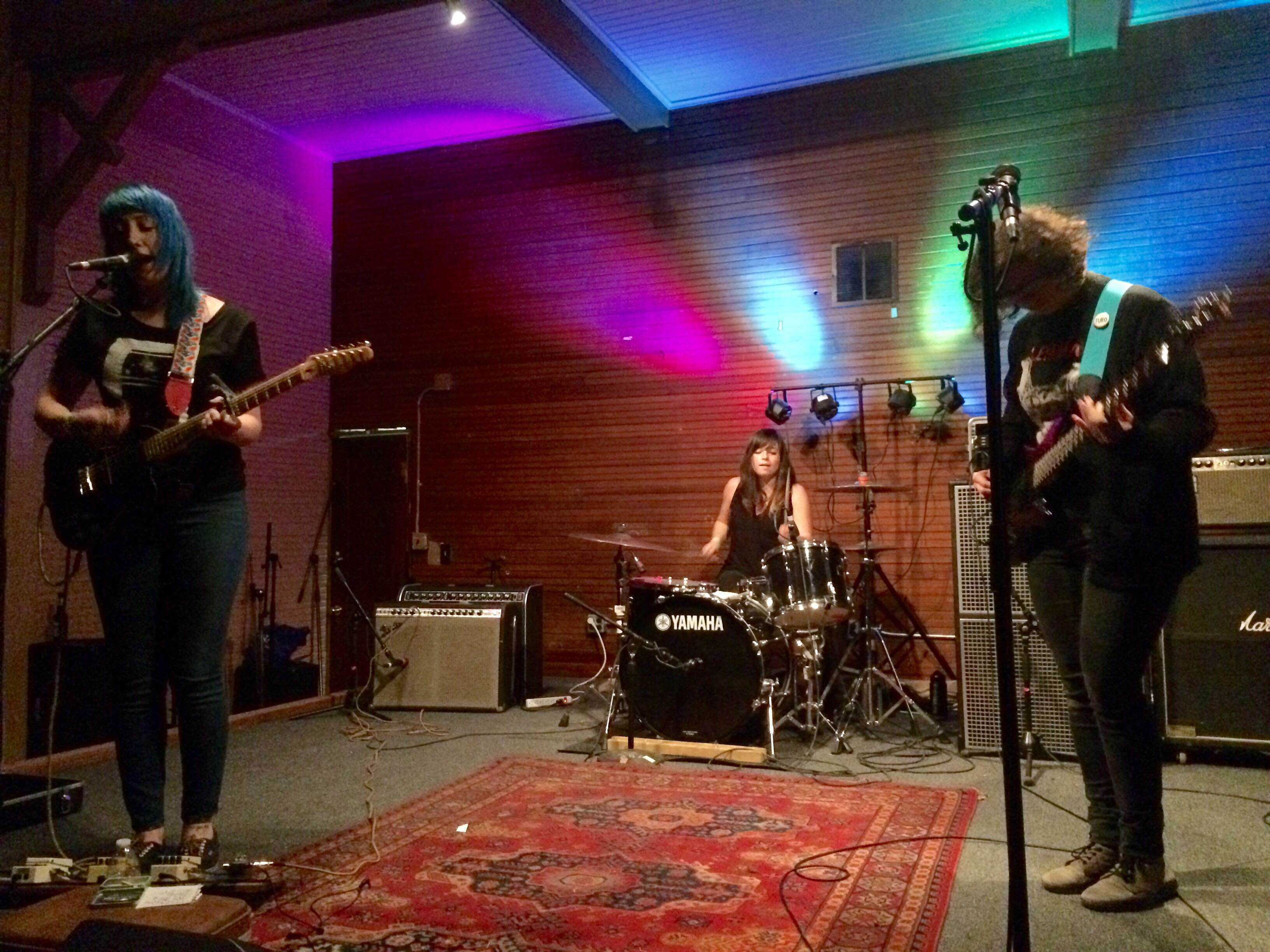 Cayetana played Sons of Hermann Hall on Saturday Feb. 21. Cayetana is (from left to right) Augusta Koch, Kelly Olson and Allegra Anka.