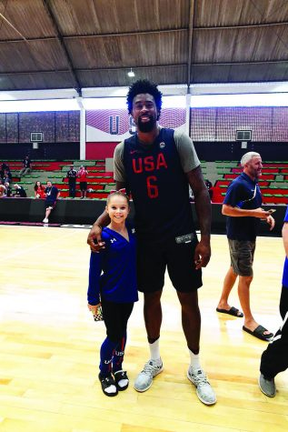 Gymnast Ragan Smith met LA Clipper's player DeAndre Jordan at the 2016 Olympics. Their height difference made this photo go viral this summer.