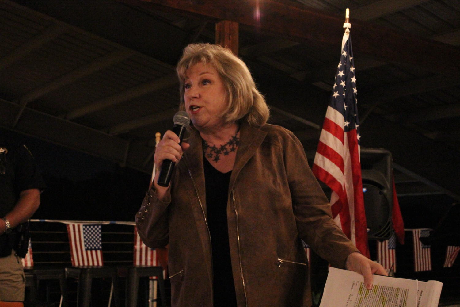 State Senator Jane Nelson spoke at the GOP meet and greet at Marty B's in Bartonville.