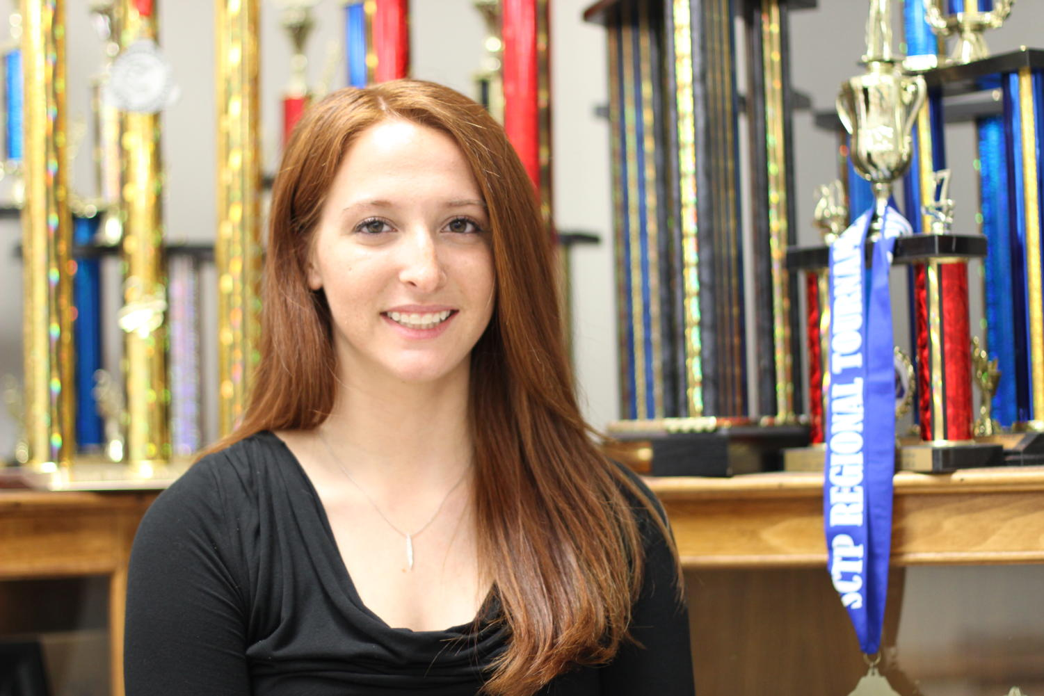 Junior Lexie Smoot has won many awards at national and state clay target tournaments. The team's awards are displayed in Mr. Cooke's room.