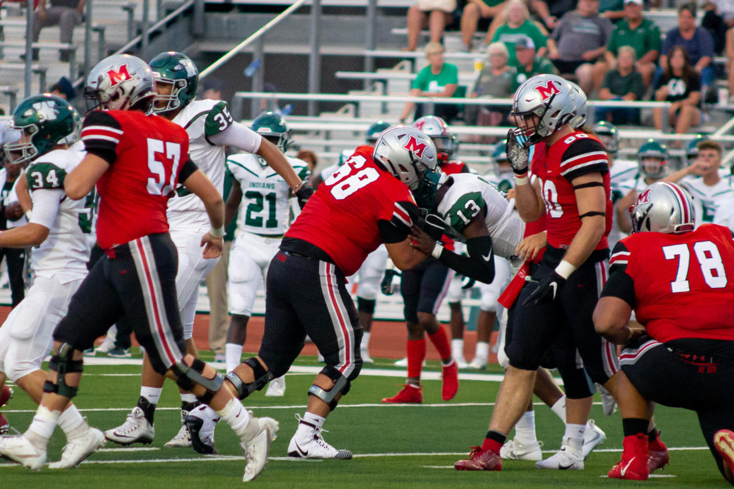 The Marauders played the Waxahachie Indians last week at their home opener and came out on top 55-38.