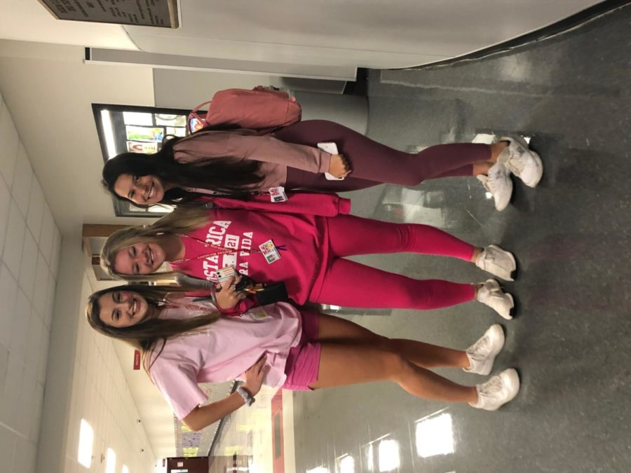Juniors Alyssa Brown, Brooke Childers and Alex Lengyel show their school pride by participating in Pink Out day on Oct. 11 before the big game against Hebron.