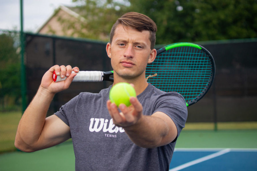 Senior+Ryan+Mouakket+was+inspired+to+give+tennis+a+shot+in+sixth+grade+while+watching+it+on+TV+with+his+dad.+He+now+aspires+to+earn+a+state+title.