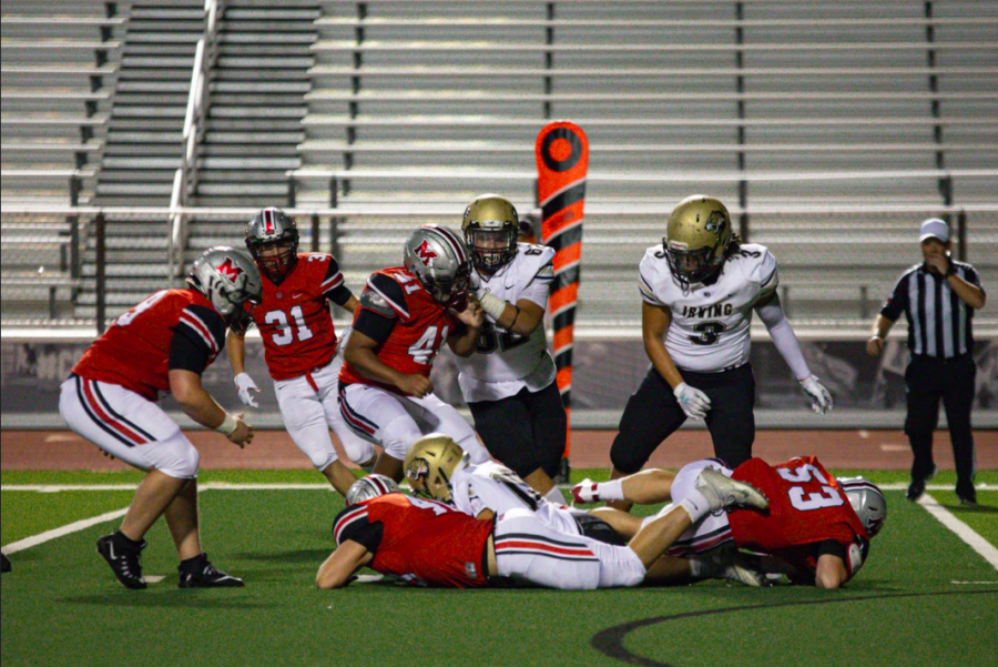 Football+won+the+homecoming+game+60-0+%28pictured%29.+The+Marauders+also+came+out+on+top+last+week+15-7+against+Coppell.+