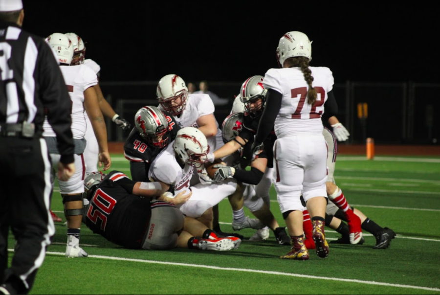 The Marauders tackle Keller Central players at last weeks game. The Marauders ended the game on top 34-7.