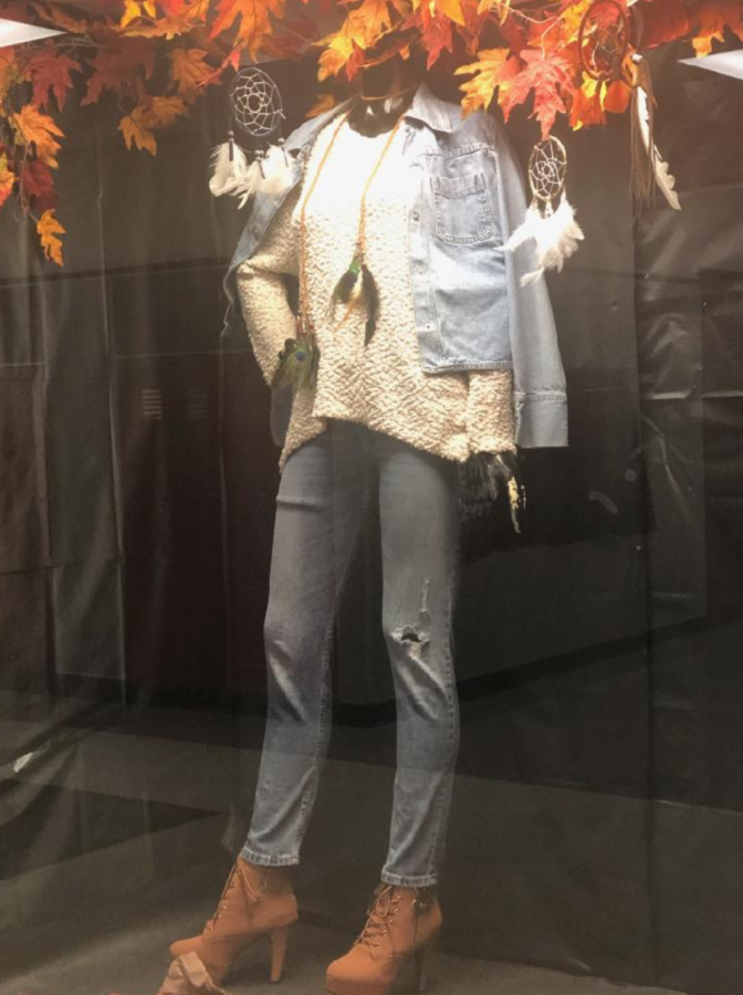 Fashion design students created this seasonal outfit and displayed it for their peers and teachers to admire.