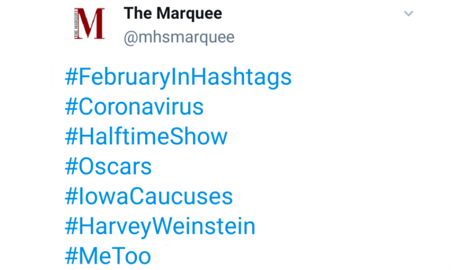 February's trending hashtags on Twitter captured the biggest events from the past month.