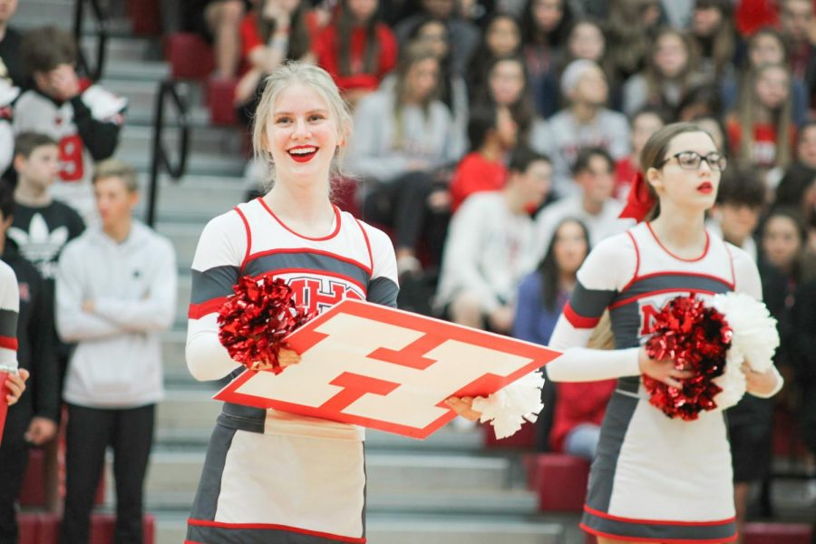 Senior Kaitlyn Reichenberger was part of the varsity team that placed second at nationals. She performed their nationals routine for the last time at their pep rally on Nov. 22.