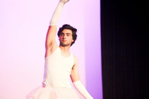 Senior Ethan Rice performs a ballet routine for his talent.