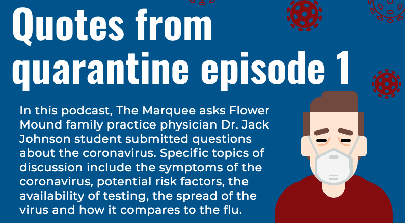 In this podcast, The Marquee asks Flower Mound family practice physician Dr. Jack Johnson student submitted questions about the coronavirus.