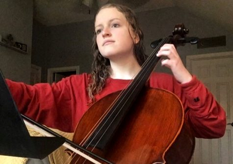 Freshman Lora Swindle plays the cello to pass time. She is a member of orchestra.