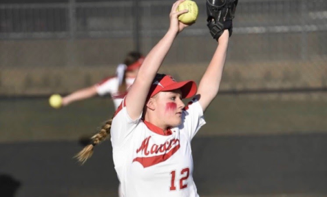 Junior Matie Wolkow pitches at a home softball game. She has had the jersey number 12 since she started playing at the age of 6.