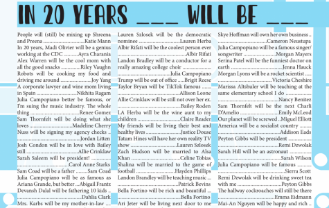 Seniors revealed where they see their friends in 20 years and more in The Marquee's senior edition, which is available on Issue.com.