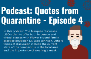 In this podcast, The Marquee discusses LISD's plan to offer both in person and virtual classes with Flower Mound family practice physician Dr. Jack Johnson. Others topics of discussion include the current state of the coronavirus in the local area and the importance of wearing a mask.