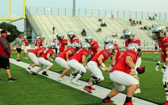 The Marauders warm up  before their scrimmage against Prosper.