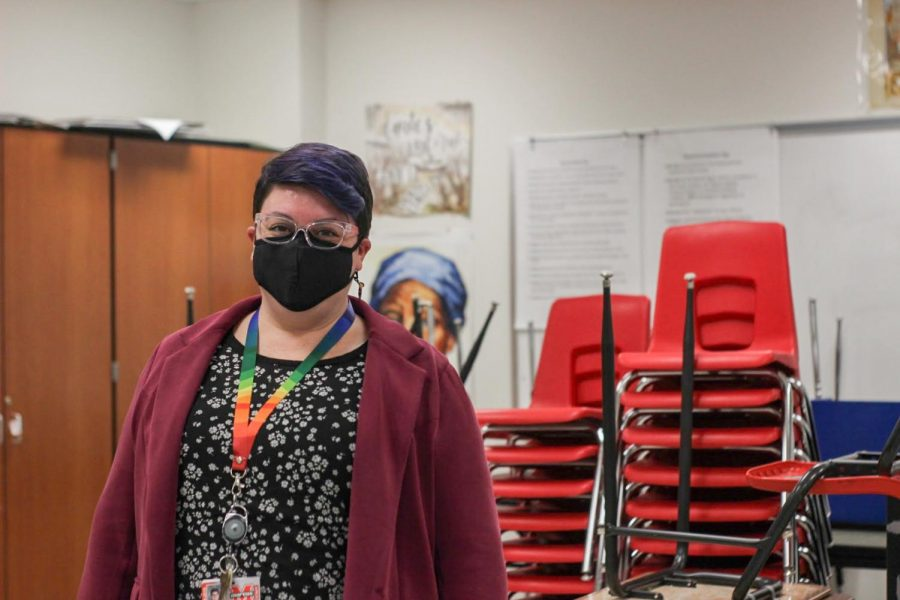 English teacher Ashley Gandy spends each day in her empty classroom teaching virtual classes.
