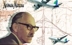 A restored image of Edward S. Marcus will be included on the mural. In the sample above, the background is made up of maps of the old Flower Mound area and airplanes, representing the DFW airport's historical significance.
