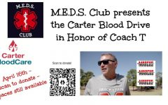 Students and staff can scan the QR code above to sign up to donate at the M.E.D.S. club blood drive, which is being held in honor of former coach Steve Telaneus.