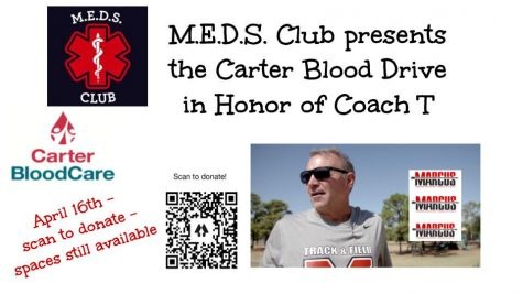 M.E.D.S. club plans blood drive, honors late coach